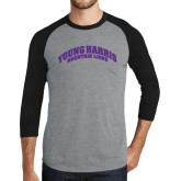 Grey/Black Tri Blend Baseball Raglan-Young Harris Mountain Lions Arched