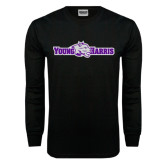 Black Long Sleeve TShirt-Young Harris Flat w/ Spirit Mark