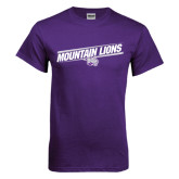 Purple T Shirt-Mountain Lions Slanted