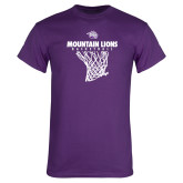 Purple T Shirt-Mountain Lions Basketball w/ Hanging Net