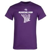 Purple T Shirt-Mountain Lions Basketball w/ Hanging Net