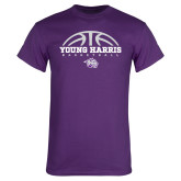Purple T Shirt-Young Harris Basketball Half Ball