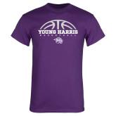 Purple T Shirt-Young Harris Basketball Half Ball