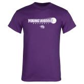 Purple T Shirt-Young Harris Baseball w/ Flying Ball