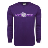 Purple Long Sleeve T Shirt-Young Harris Flat w/ Spirit Mark
