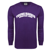 Purple Long Sleeve T Shirt-Young Harris Mountain Lions Arched
