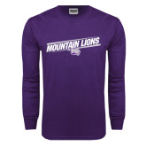 Purple Long Sleeve T Shirt-Mountain Lions Slanted