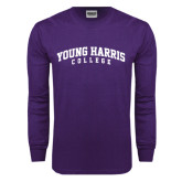 Purple Long Sleeve T Shirt-Young Harris College Arched
