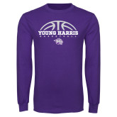 Purple Long Sleeve T Shirt-Young Harris Basketball Half Ball