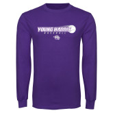 Purple Long Sleeve T Shirt-Young Harris Baseball w/ Flying Ball
