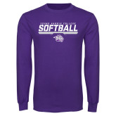 Purple Long Sleeve T Shirt-Young Harris College Softball