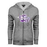 ENZA Ladies Grey Fleece Full Zip Hoodie-Spirit Mark
