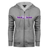 ENZA Ladies Grey Fleece Full Zip Hoodie-Young Harris Flat w/ Spirit Mark