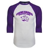 White/Purple Raglan Baseball T Shirt-Official Logo
