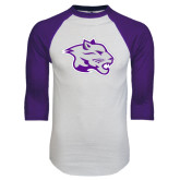 White/Purple Raglan Baseball T Shirt-Spirit Mark