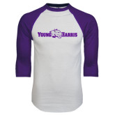 White/Purple Raglan Baseball T Shirt-Young Harris Flat w/ Spirit Mark