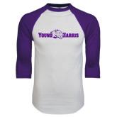 White/Purple Raglan Baseball T Shirt-Young Harris Flat w/ Spirit Mark
