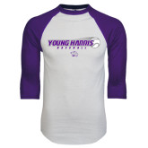 White/Purple Raglan Baseball T Shirt-Young Harris Baseball w/ Flying Ball