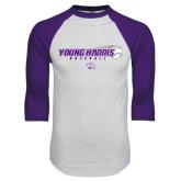 White/Purple Raglan Baseball T Shirt-Young Harris Baseball w/ Flying Ball
