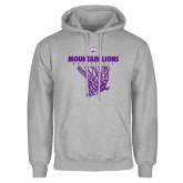 Grey Fleece Hoodie-Mountain Lions Basketball w/ Hanging Net