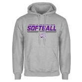 Grey Fleece Hoodie-Young Harris College Softball