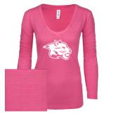 ENZA Ladies Hot Pink Long Sleeve V Neck Tee-Spirit Mark