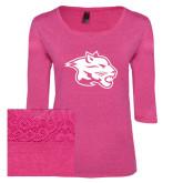 Ladies Dark Fuchsia Heather Tri Blend Lace 3/4 Sleeve Tee-Spirit Mark
