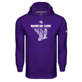 Under Armour Purple Performance Sweats Team Hoodie-Mountain Lions Basketball w/ Hanging Net