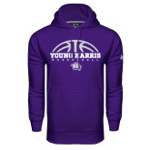 Under Armour Purple Performance Sweats Team Hoodie-Young Harris Basketball Half Ball