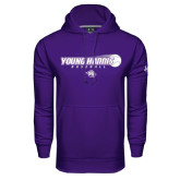 Under Armour Purple Performance Sweats Team Hoodie-Young Harris Baseball w/ Flying Ball