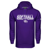 Under Armour Purple Performance Sweats Team Hoodie-Young Harris College Softball