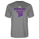 Performance Grey Concrete Tee-Mountain Lions Basketball w/ Hanging Net