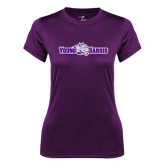 Ladies Syntrel Performance Purple Tee-Young Harris Flat w/ Spirit Mark