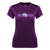 Ladies Syntrel Performance Purple Tee-Young Harris Flat w/ Spirit Mark