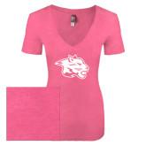 Next Level Ladies Vintage Pink Tri Blend V-Neck Tee-Spirit Mark