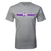 Grey T Shirt-Young Harris Flat w/ Spirit Mark
