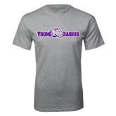 Grey T Shirt-Young Harris Flat w/ Spirit Mark