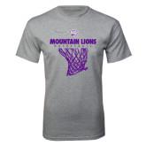 Grey T Shirt-Mountain Lions Basketball w/ Hanging Net