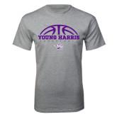 Grey T Shirt-Young Harris Basketball Half Ball