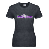 Ladies Dark Heather T Shirt-Young Harris Flat w/ Spirit Mark