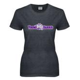 Ladies Dark Heather T Shirt-Young Harris Flat w/ Spirit Mark