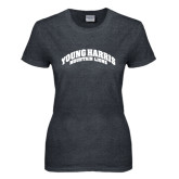 Ladies Dark Heather T Shirt-Young Harris Mountain Lions Arched