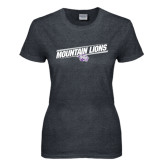 Ladies Dark Heather T Shirt-Mountain Lions Slanted