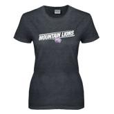 Ladies Dark Heather T Shirt-Mountain Lions Slanted