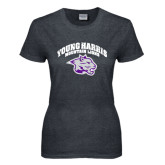Ladies Dark Heather T Shirt-Official Logo Distressed