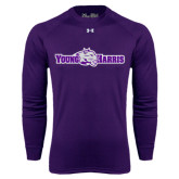 Under Armour Purple Long Sleeve Tech Tee-Young Harris Flat w/ Spirit Mark