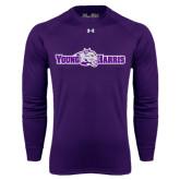 Under Armour Purple Long Sleeve Tech Tee-Young Harris Flat w/ Spirit Mark