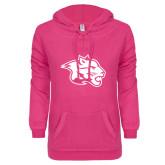 ENZA Ladies Hot Pink V Notch Raw Edge Fleece Hoodie-Spirit Mark
