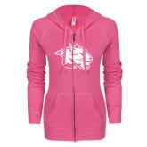 ENZA Ladies Hot Pink Light Weight Fleece Full Zip Hoodie-Spirit Mark