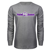 Grey Long Sleeve T Shirt-Young Harris Flat w/ Spirit Mark